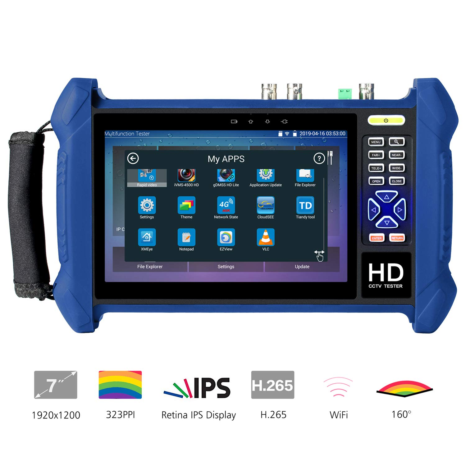 Koolertron 7 inch 1920x1200 Retina Display IP Camera Tester H.265 323PPI Touch Screen Security CCTV Tester Monitor Dual Gigabit Network Ports Built-in WiFi SDI/TVI/AHD/CVI/TDR/HDMI in&Out Cable Tracer by Koolertron