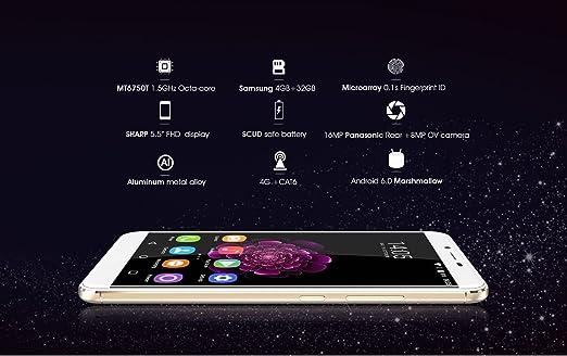 Oukitel U15S - Android 6.0 4G Smartphone 4GB RAM 32GB Octa Core 1.5GHz 5.5 Pulgadas FHD IPS Pantalla 8MP + 16MP cámara Huella Digital Ultra Delgado: Amazon.es: Electrónica