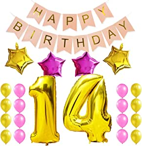 Amazon.com: KUNGYO Sweet 14Th Birthday Party Decorations ...
