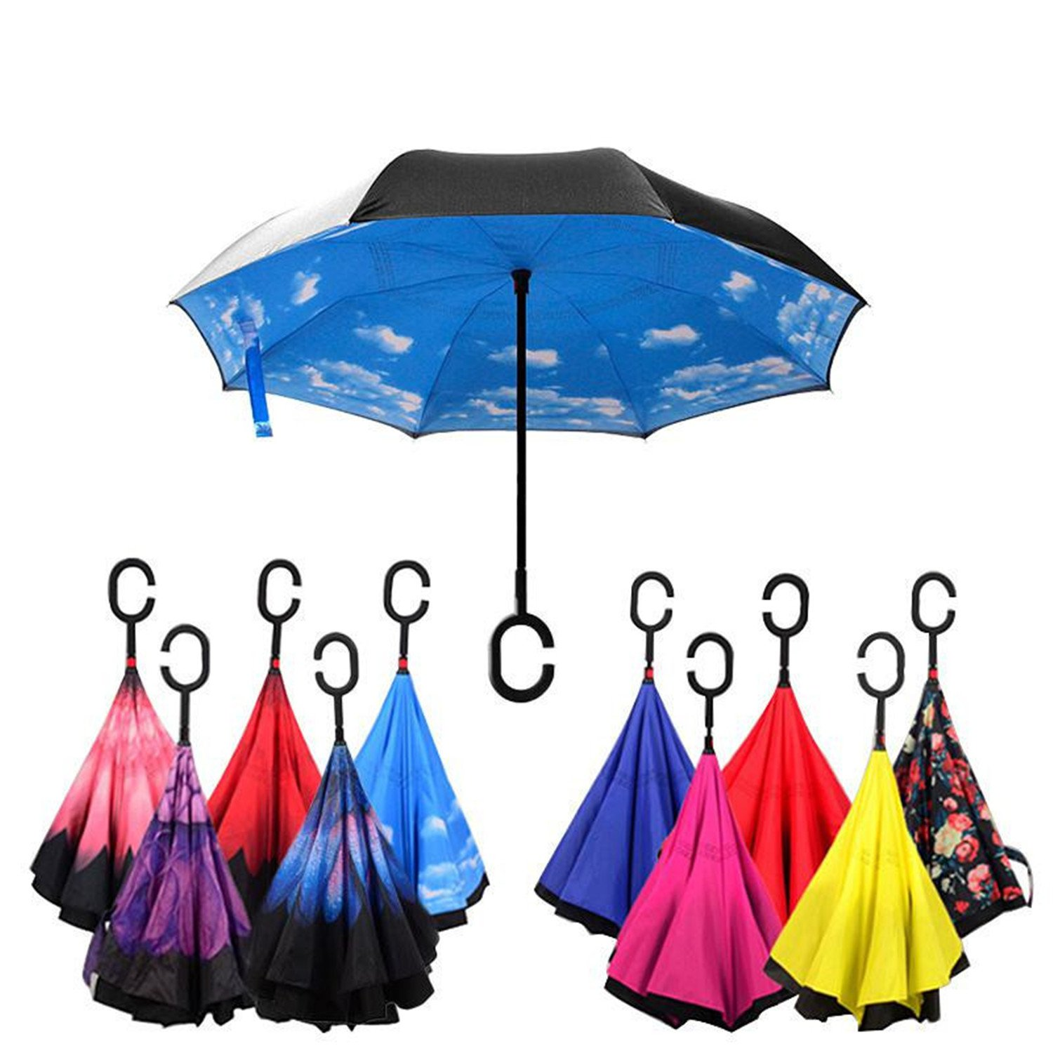 Amazon.com: Hogonta Folding Reverse Umbrella Double Layer Inverted Windproof Rain Car Umbrellas For Women Black: Sports & Outdoors
