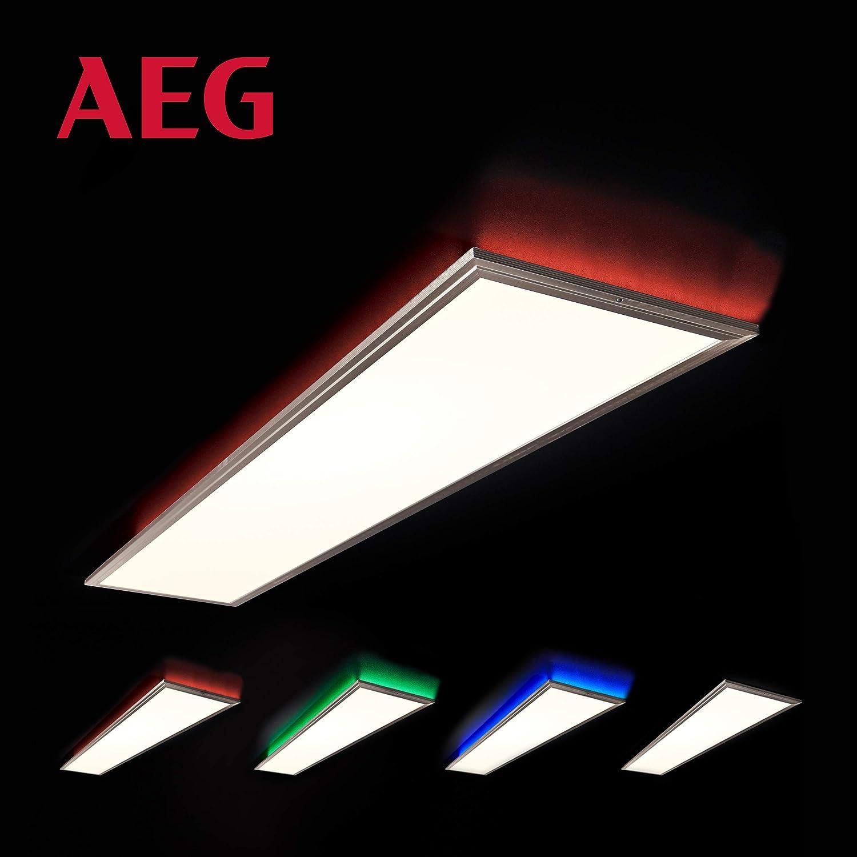 AEG Markos Deckenaufbau-Paneel 120x30cm RGB, Metall, Kunststoff, 60 W, nickel eloxiert weiß, 120 x 30