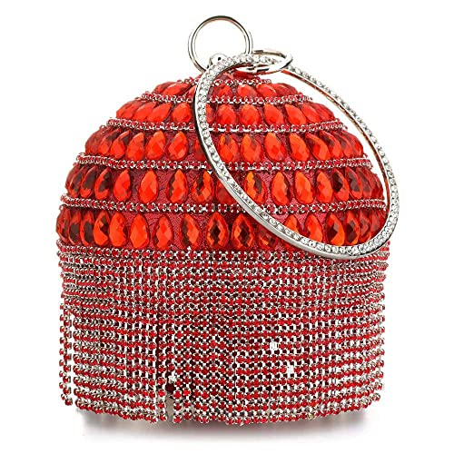 90a1088d8d6 RISUP Womans Round Ball Clutch Handbag Dazzling Full Rhinestone Tassles  Ring Handle Purse Evening Bag (