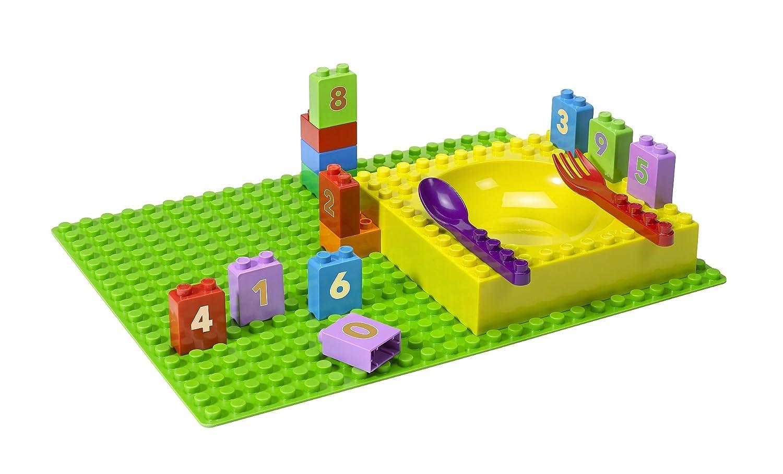 Amazon.com: Placematix Interlocking Kids Tableware Set Learning Bricks    Numbers: Kitchen U0026 Dining