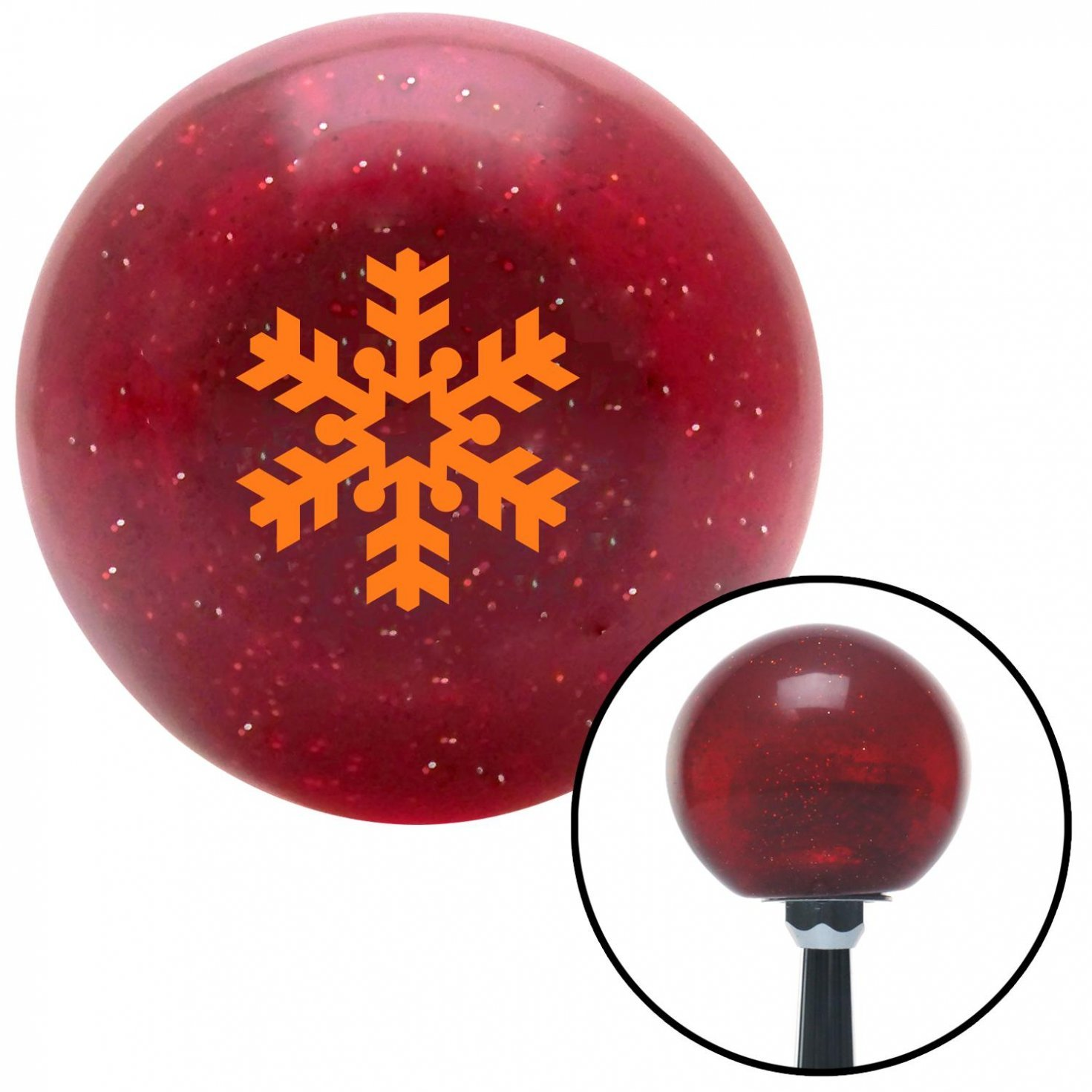Orange Snowflake Filled in American Shifter 54078 Red Metal Flake Shift Knob with 16mm x 1.5 Insert