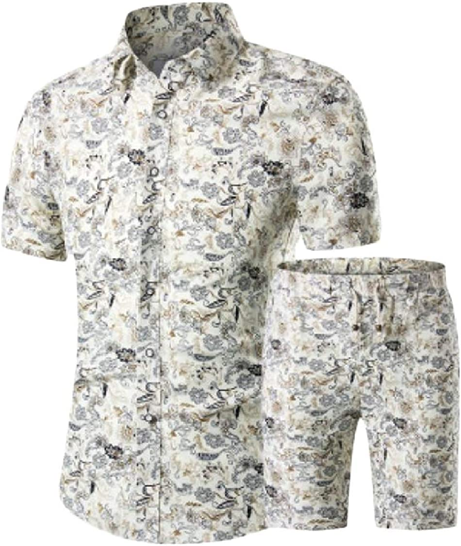 Lutratocro Mens Shirt and Shorts Sport Short Sleeve Summer Floral Print Outfit Set