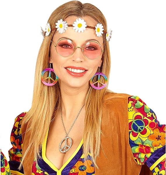 NET TOYS Set Disfraz Hippie con Banda del Pelo, Pendientes y Gafas ...
