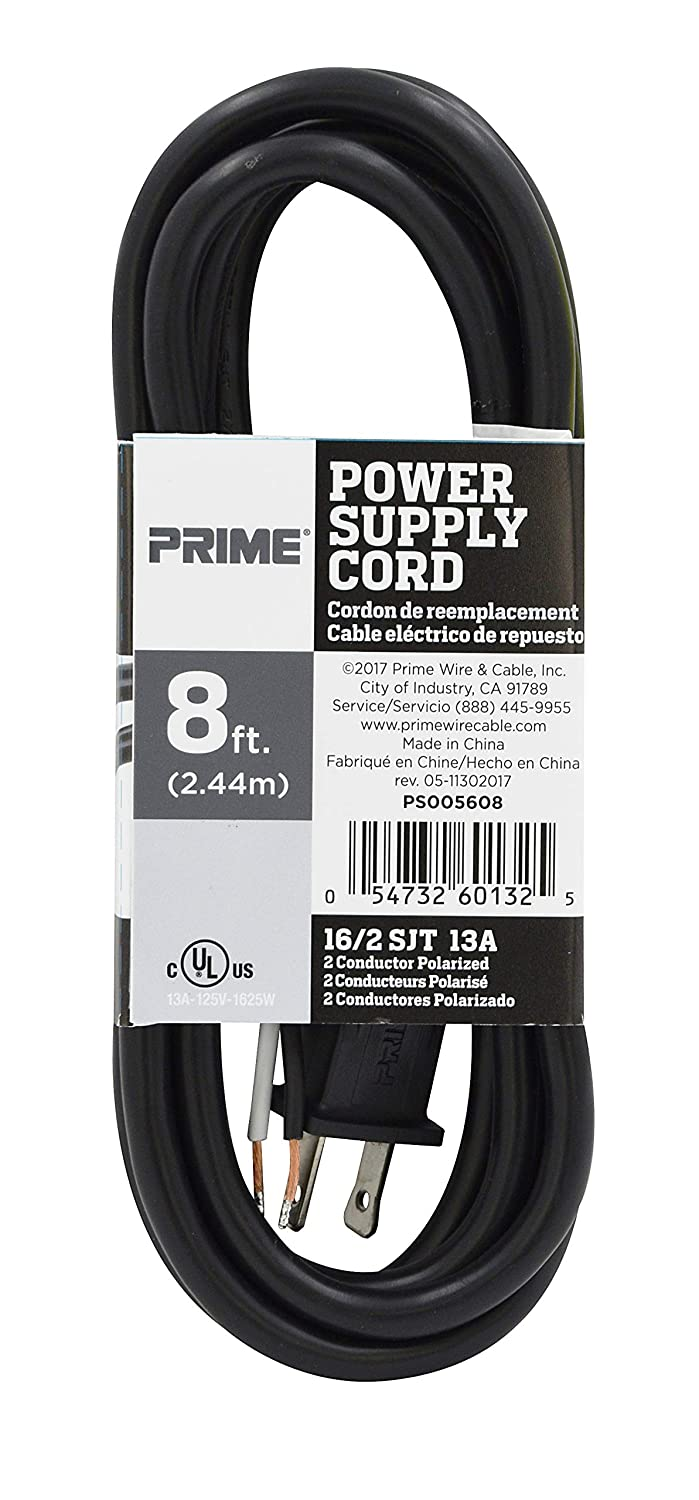 Black Prime PS005608 8-Feet 16//2 SJT Replacement Power Supply Cord