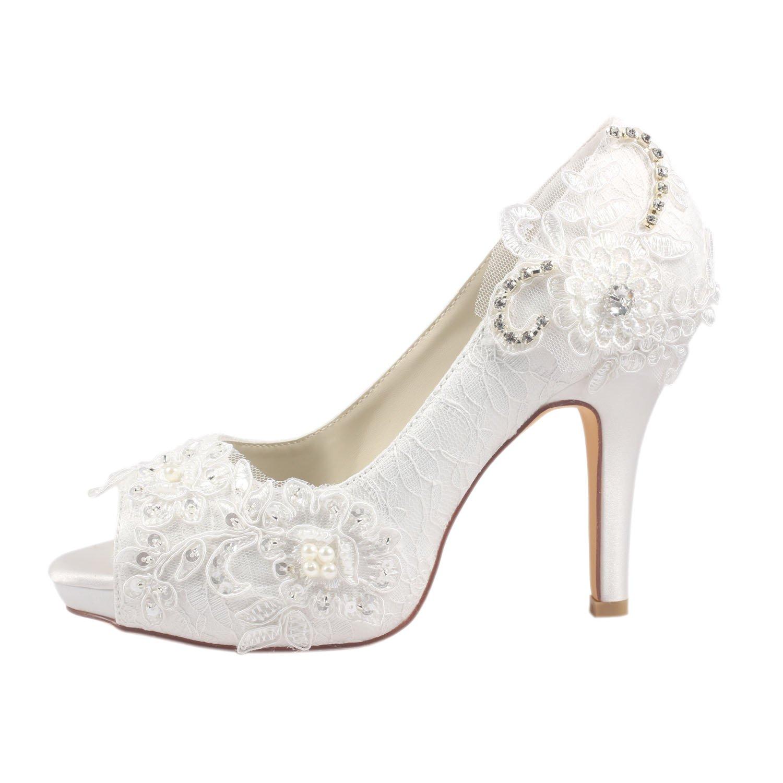 Emily Brida Zapatos de Boda de Encaje Zapatos de Novia de Tacón Alto Peep  Toe de Encaje de Marfil  Amazon.es  Zapatos y complementos 23aa1c29d91