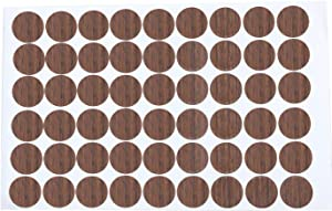 Mini Skater 1 Sheet/54Pcs 20mm Wooden Furniture Accessories Self Adhesive PVC Material Decoration Furniture Cabinet Screw Cap Covers Hole Stickers (Cherry)