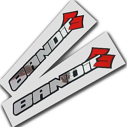 Suzuki Bandit Silber Chrom Auf Schwarz Grafik Aufkleber Aufkleber X 2 Auto