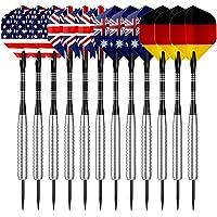 Hero412paquetes juego de dardos de punta de acero 22gramos con diferentes estilo vuelos, ejes de aluminio, níquel plata barriles y afilador de dardos