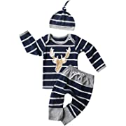 Christmas Outfit Set Baby Boy Deer Striped Pant Clothing Set (Blue, 0-3 Months)