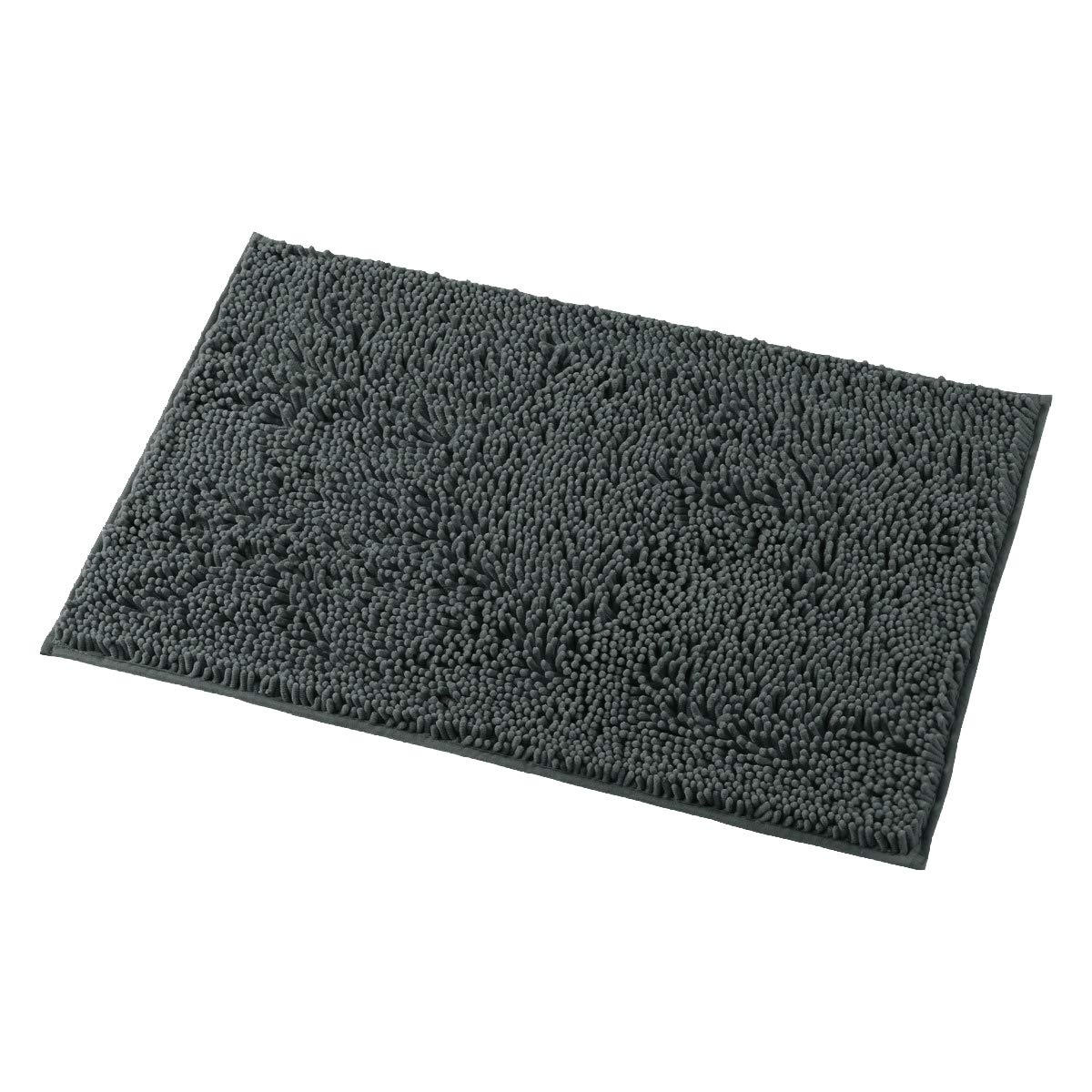 MAYSHINE 20x32 Inches Non-Slip Bathroom Rug Shag Shower Mat Machine-Washable Bath Mats with Water Absorbent Soft Microfibers of - Dark Gray
