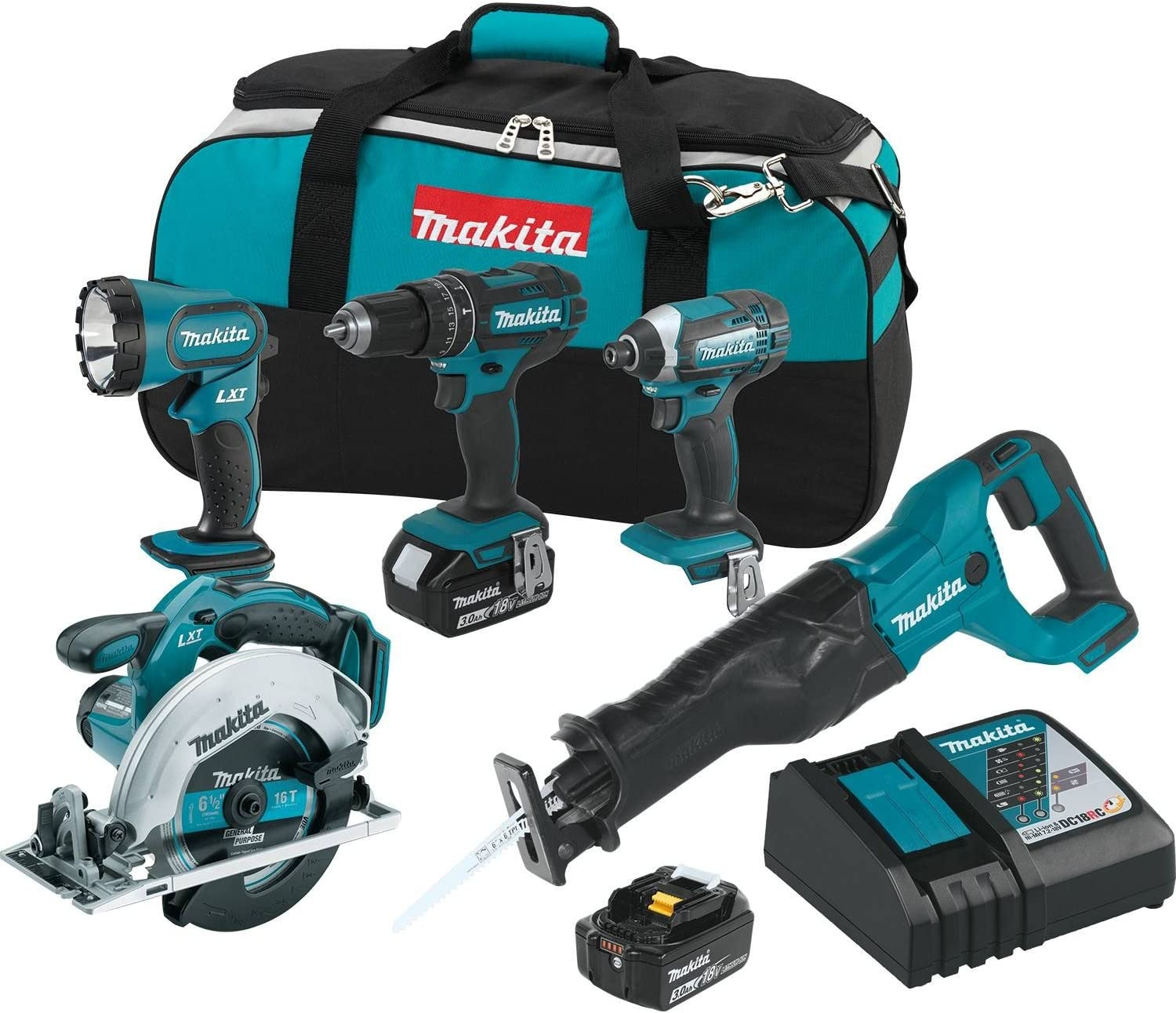 Makita XT505 18V LXT Lithium-Ion Cordless 5-Pc. Combo Kit 3.0Ah