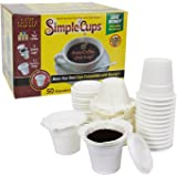 Disposable Cups for Use in Keurig Brewers - Simple Cups - 50 Cups, Lids, and Filters - Use Your Own Coffee in K-cups