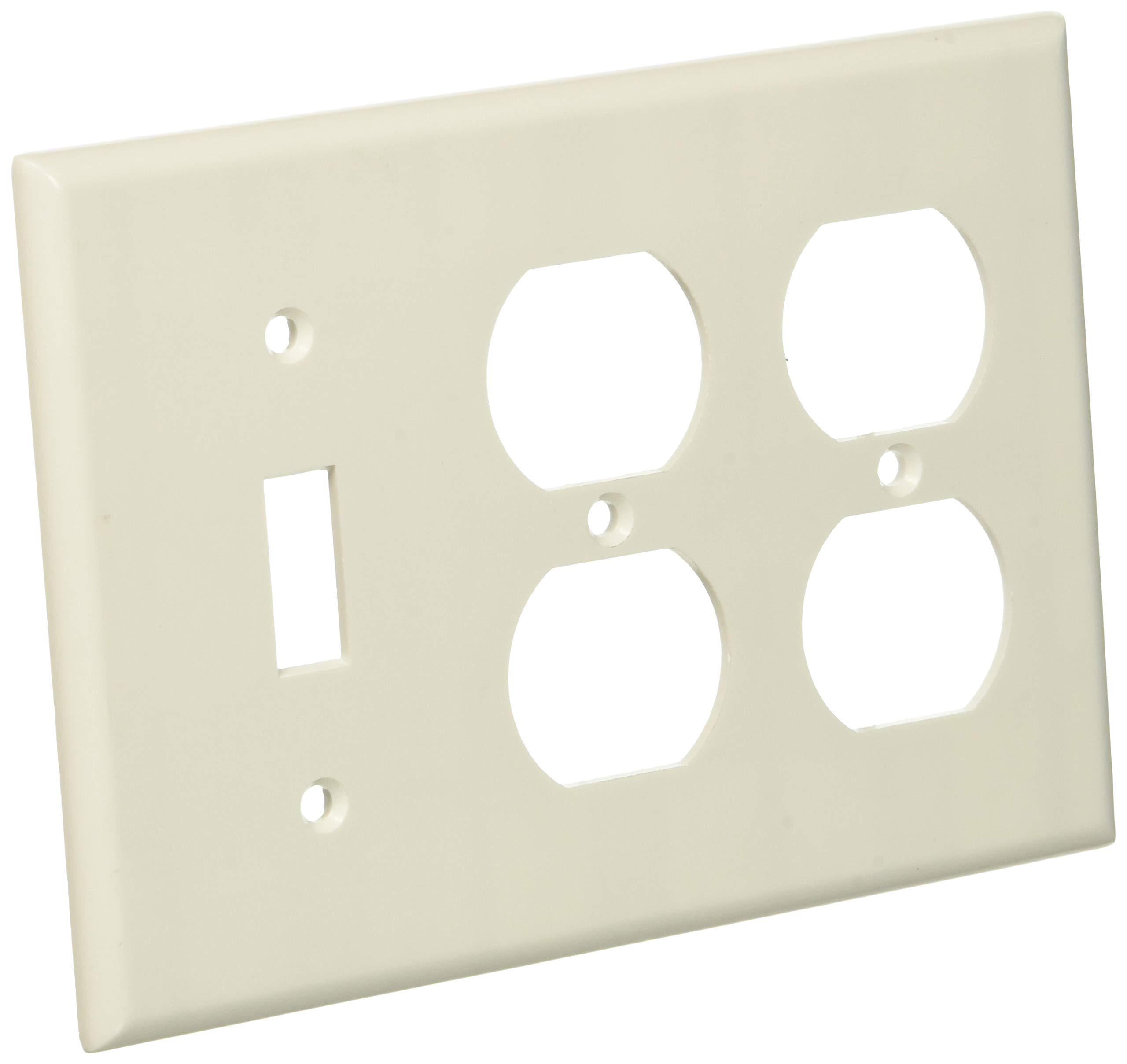 Leviton 88047.0 3-Gang 1-Toggle 2-Duplex Device Combo Wallplate, White, 10 Piece