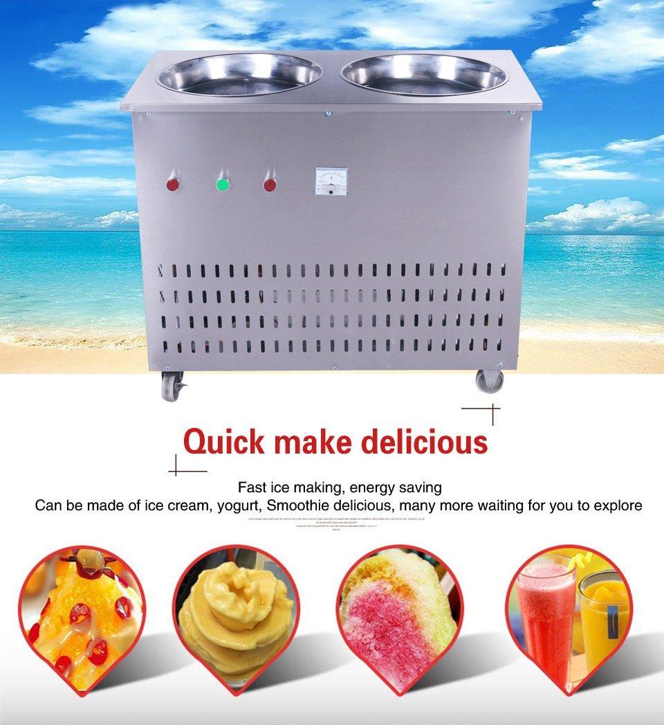 Yoli® Doble sartenes frito Ice Cream máquina, máquina de hielo, frito de acero inoxidable tailandés frito Ice Cream máquina, 110 V/220 V: Amazon.es: Hogar