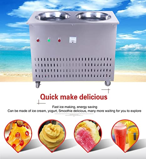 Yoli® Doble sartenes frito Ice Cream máquina, máquina de hielo, frito de acero