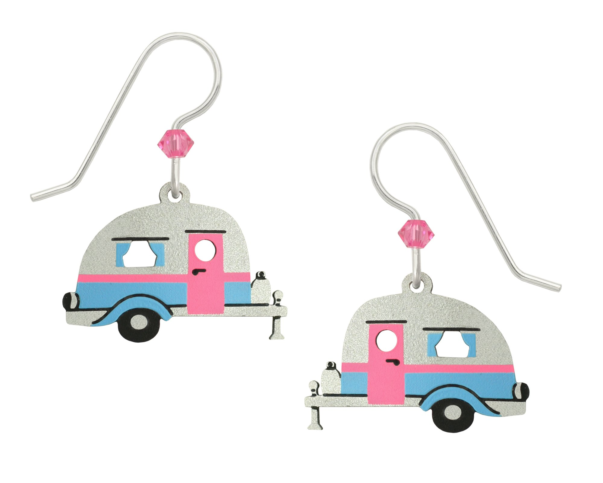 Sienna Sky Vintage Retro Camper Travel Trailer Blue Silver Hand Painted Earrings Gift Box Made USA
