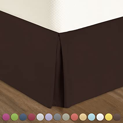 Pleated Bed Skirt Queen Size Solid Chocolate Luxury Double Brushed 100 Microfiber Dust Ruffle 18 Inch Tailored Drop By Urban Bed
