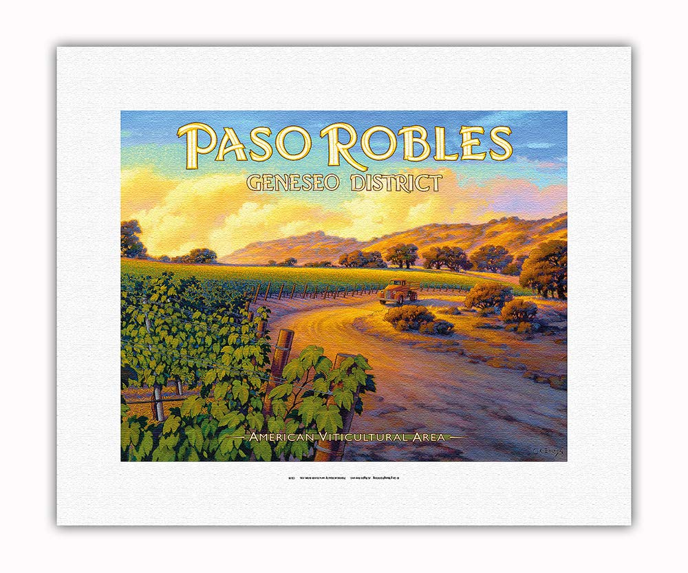 Pacifica Island Art - Paso Robles - Geneseo District - Central Coast AVA Vineyards - California Wine Country Art by Kerne Erickson - Fine Art Rolled Canvas Print - 11in x 14in