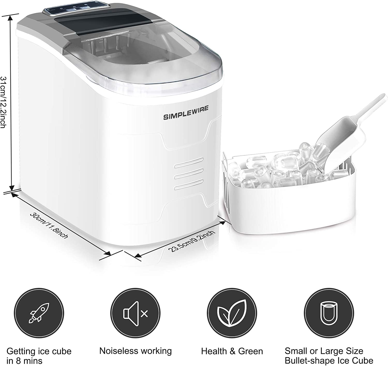 Máquina para hacer hielo, SIMPLEWIRE Máquina para hacer cubos de ...