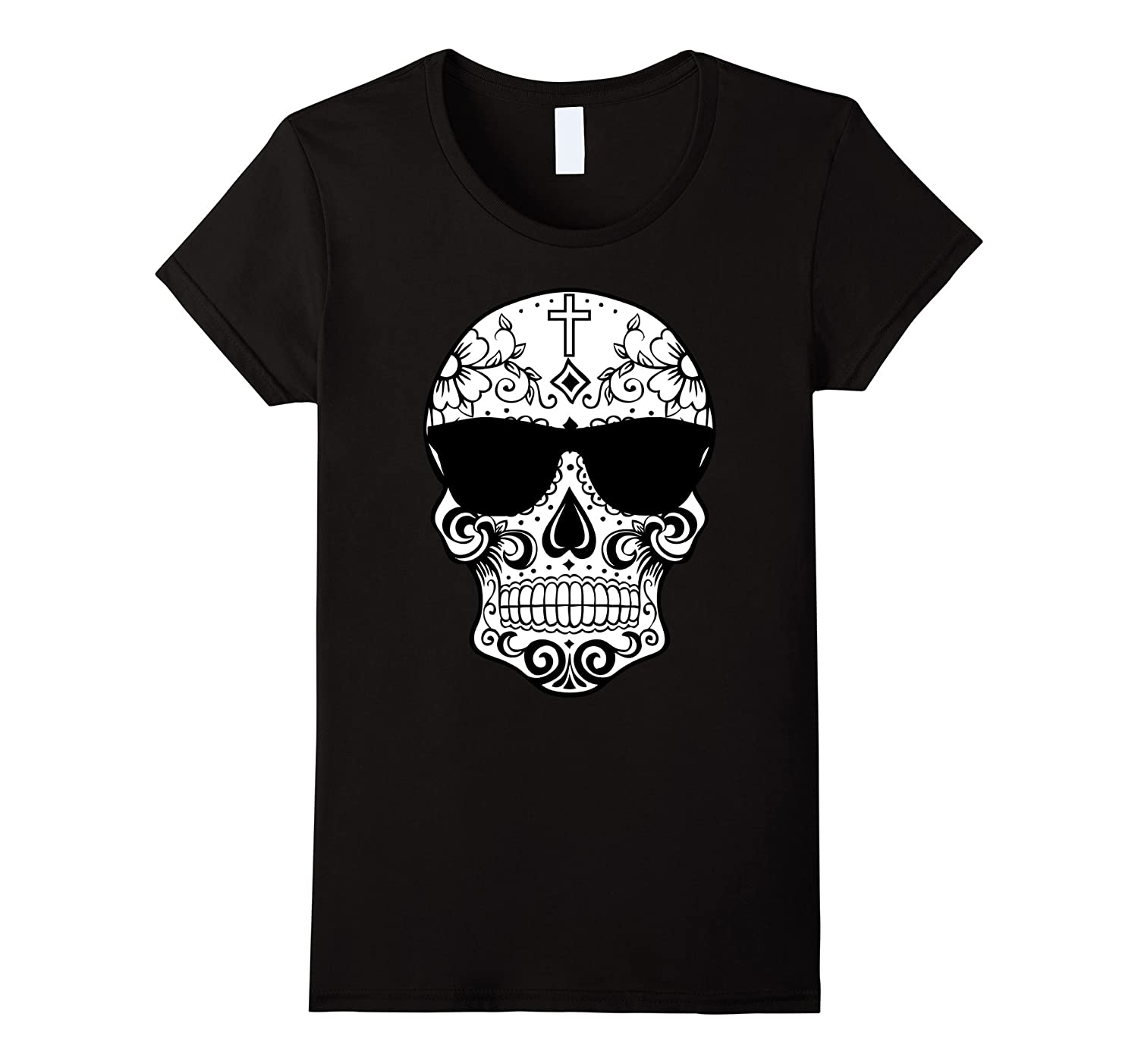 Day Of The Dead Costume TShirts Sugar Skull Pink Sunglasses-Veotee