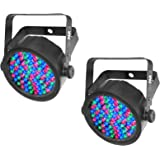 (2) Chauvet SlimPar 38 LED DMX Slim Par Can Stage Pro DJ RGB Lighting Effects