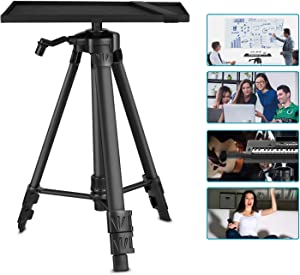 Neewer Aluminum Tripod Projector Stand, Adjustable Laptop Stand, Computer Stand with Plate and Carry Bag, Adjustable Height 18-47.6inches for Projectors/Laptops/Photography/DJ Equipment (Black)