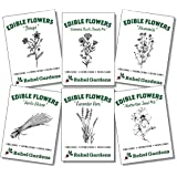 Organic Edible Flower Seeds - Non GMO Variety Pack for Planting Outdoors - Nastrurtium, Lavender, Borage, Chives, Chamomile,