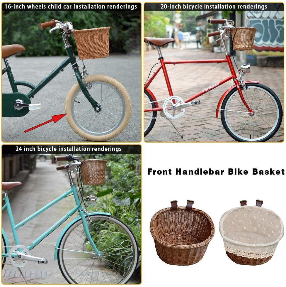 yummyfood Fahrradkorb Vorne Lenkerkorb Schultaschenkorb Handgewebter Fahrrad Gep/äcktr/ägerkorb F/ür Frauen Kinder Und Hunde 26x22x17cm M/änner