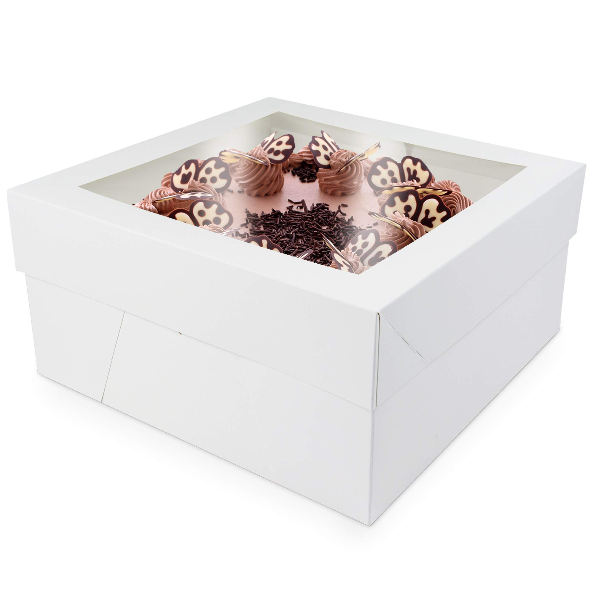 O'Creme Cake Boxes - White Bakery Boxes with Window - 12'' x 12'' x 6'' Inch - Kraft Paperboard Bakery Boxes for Holding and Displaying your Pastries, 25 Pack