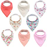ALVABABY Bandana Drool Bibs 8 Pack Of Drooling Teething Feeding Super Absorbent 100% Cotton Bibs Unisex Floral Bibs For…