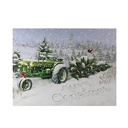 Northlight Fiber Optic And Led Lighted Merry Christmas Tractor Canvas Wall Art 12 X 15 75