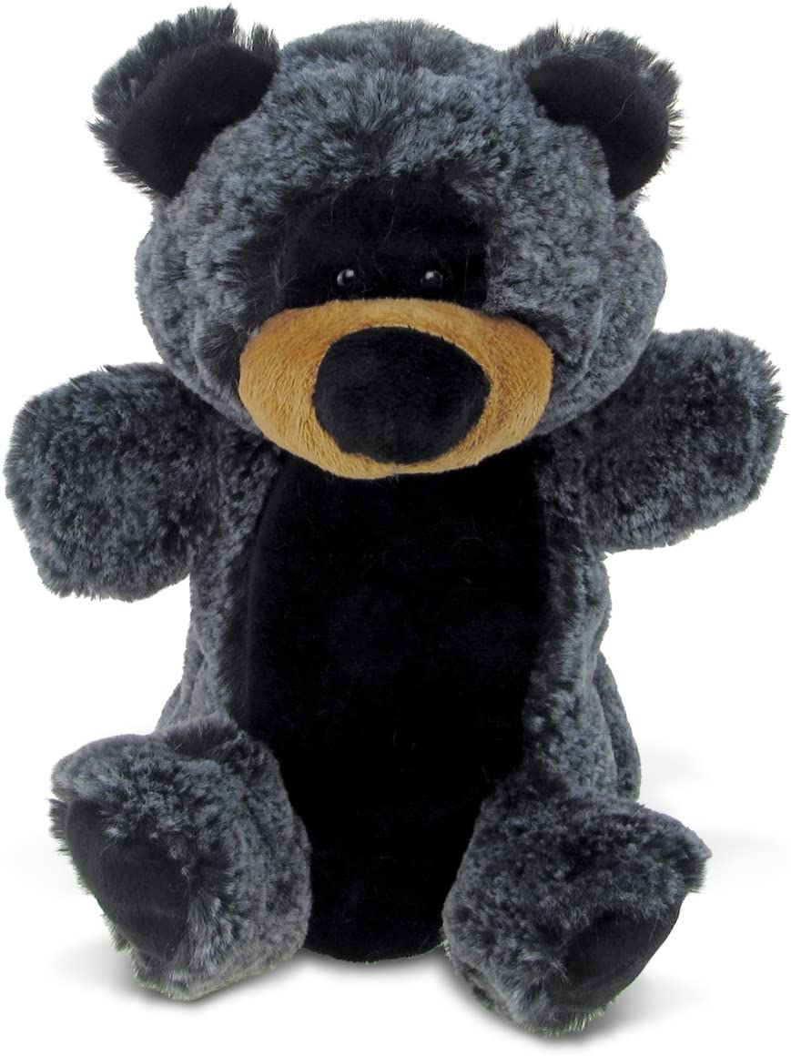 """Puzzled Black Bear Super Soft Plush Hand Puppet - Wild Animals Collection - 9"""" INCH - Unique loveable Gift - Item #5758"""