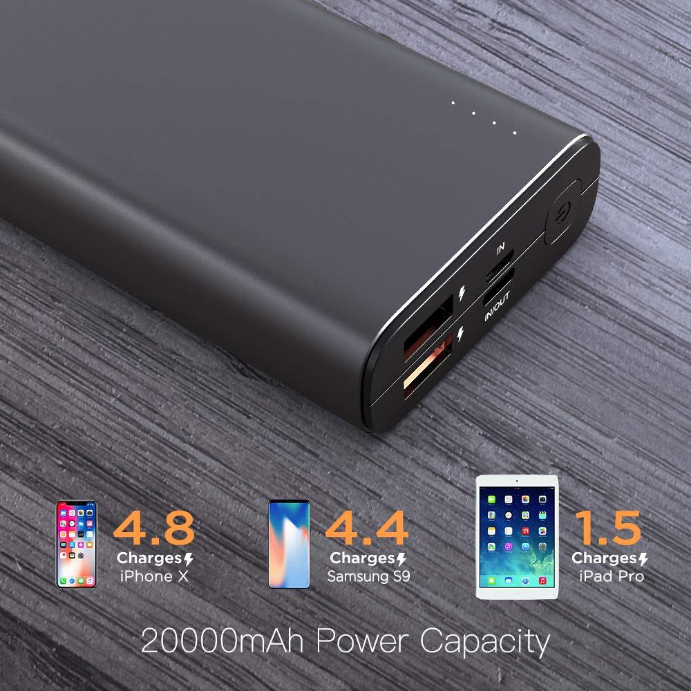 NOVOO 20000mAh Powerbank 3 Ausg/änge USB C 18W Power Delivery /& 2 Fast Charge USB-A Ports Power Bank f/ür Handy iPhone 6 7 X 8 Plus XS XR Samsung Galaxy S8 S9 Huawei P20 iPad Switch 20000