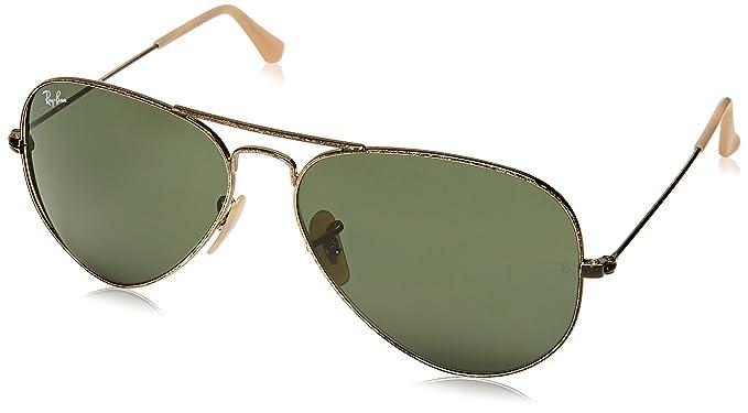 Ray-Ban Aviator Large Metal - Gafas de sol Unisex, Dorado (Green 001/33 Glass),