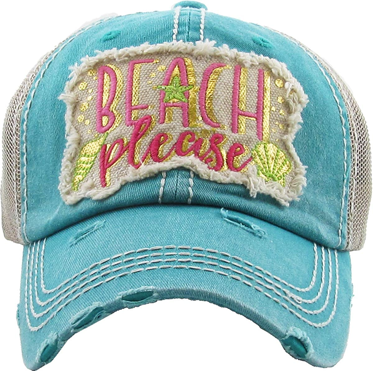 Beach Please Metallic  Teal Funky Junque Womens Baseball Cap Distressed Vintage Unconstructed Embroidered Dad Hat