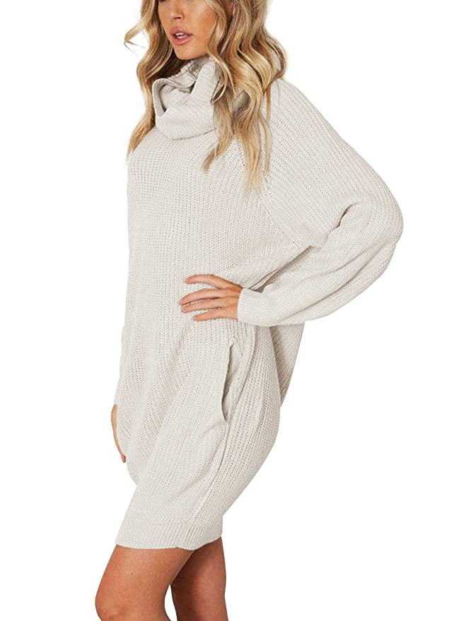 Simplee Apparel Damen Winter Kleid Elegant Lose Langarm Oversize Rollkragen  Strickkleid Knielang Kleid mit Taschen Beige: Amazon.de: Bekleidung