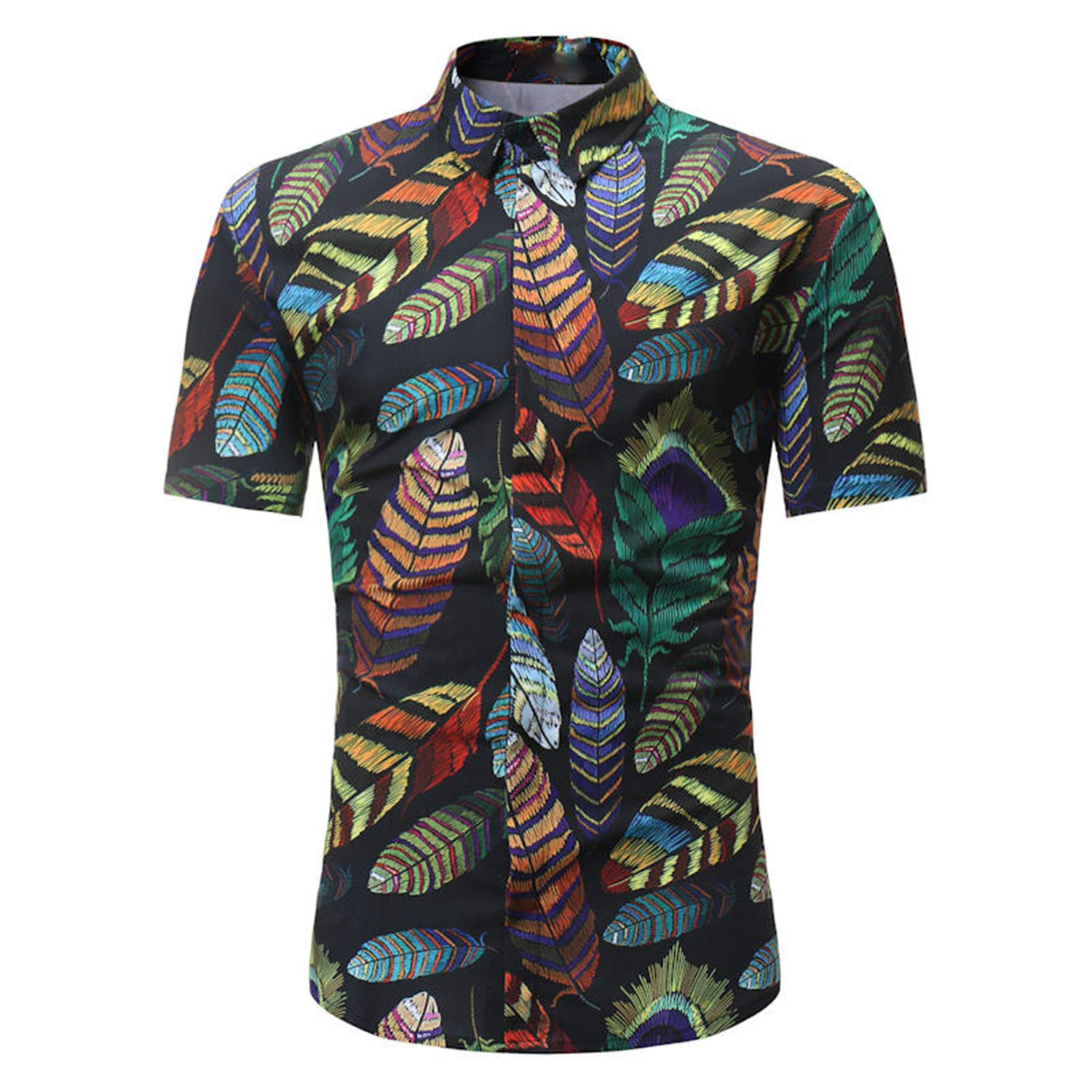 Dersimio Men Shirt Summer Style Palm Tree Print Beach Hawaiian Shirt Men Casual Short Sleeve Hawaii Shirt