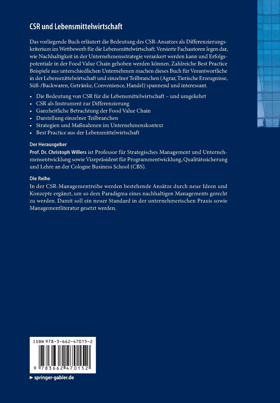 csr und lebensmittelwirtschaft nachhaltiges wirtschaften entlang der food value chain management reihe corporate social responsibility german edition - Csr Beispiele