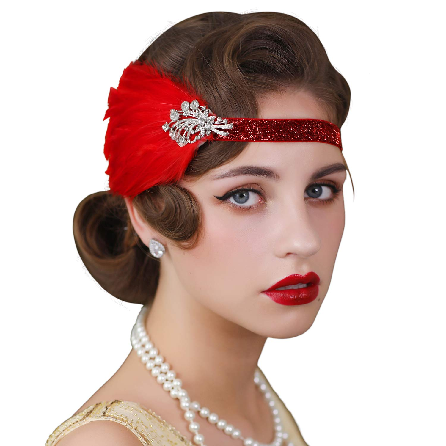 Sweetv 1920s Flapper Headband Feather Great Gatsby Headpiece Roaring 20s Vintage Hair Accessories Red