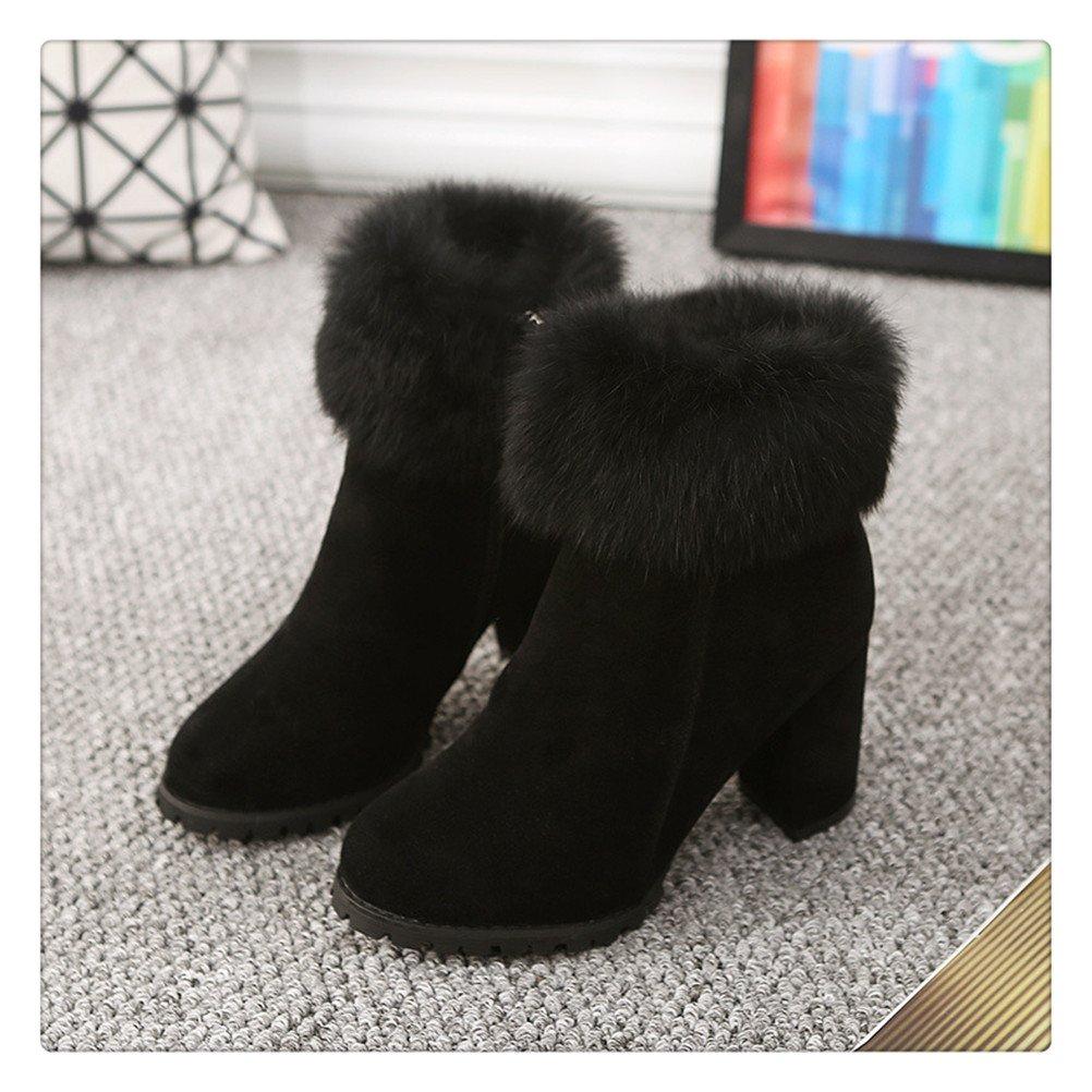 MoomTry Womens Fanshion Snow Boots Artificial Fur Warm Leather Bottine