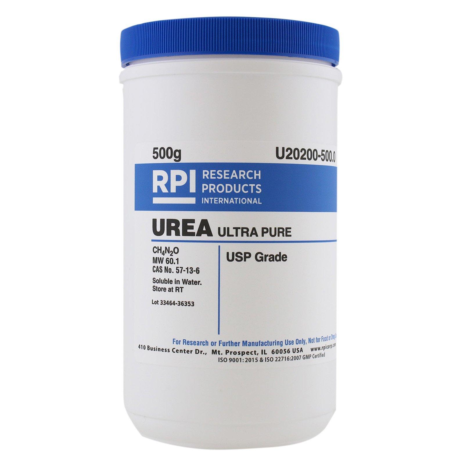 RPI Urea Crystalline Powder, 500 Grams, USP Grade UltraPure, for Cell Culture and Protein Denaturing