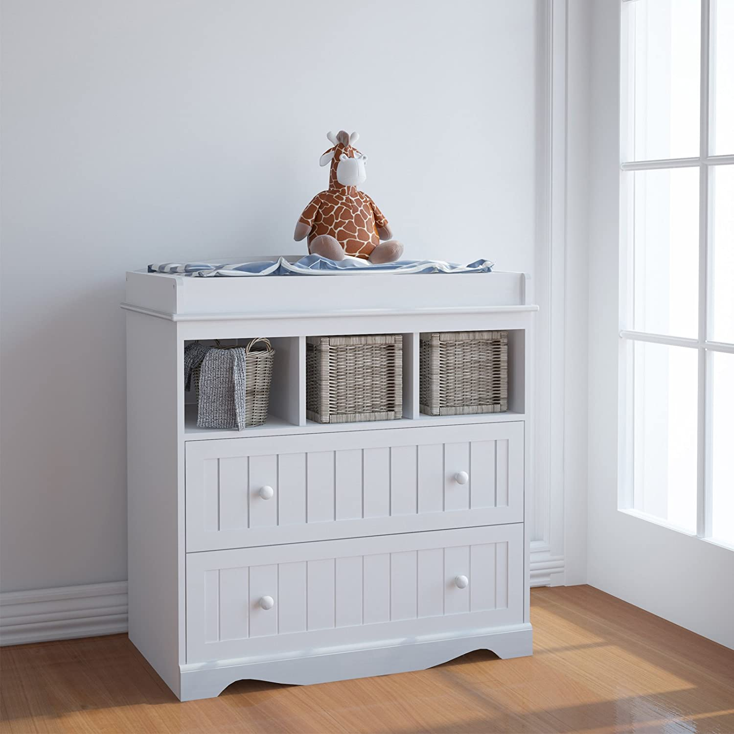 White Nursery Furniture Storage Station Infantastic Baby Changing Table Unit with Drawers