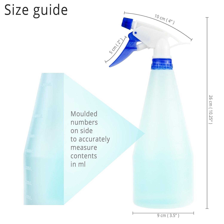 Luigi Fontanería 4 x plástico Gatillo botellas de Spray - de grosor, vacío & Heavy Duty (750 ml)/, con boquilla ajustable y asas de colores: Amazon.es: ...