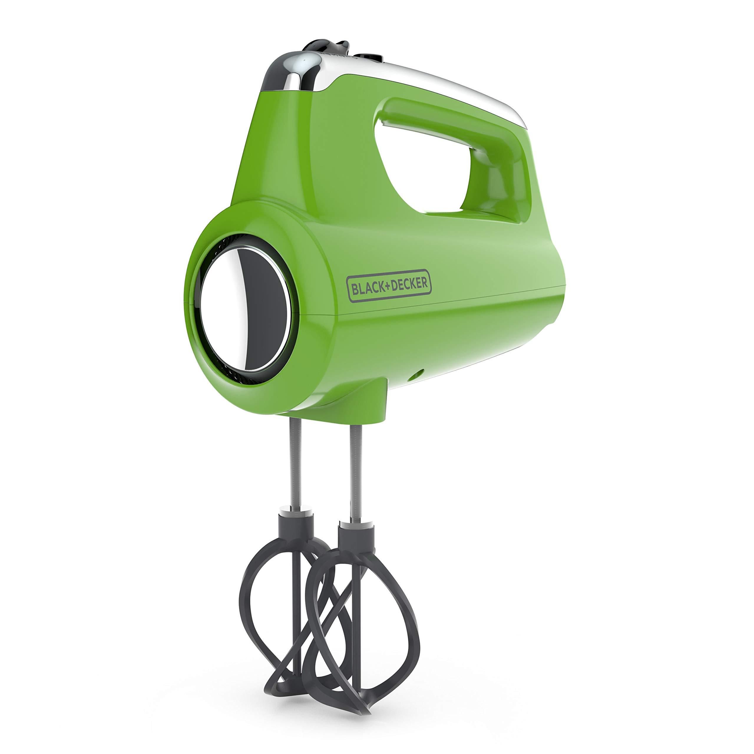 BLACK+DECKER MX600L Helix Performance Premium 5-Speed Hand Mixer, 5 Attachments + Case, Lime Green
