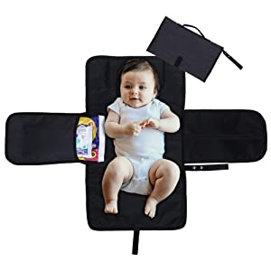 Portable Diaper Changing Foldable Pad for Baby, with Head Cushion - Kids Travel Accessories Mat Ideal for Family Trips Nursery Changing Station - Charcoal Grey - 35.5 x 23.5X 2.5 Inches