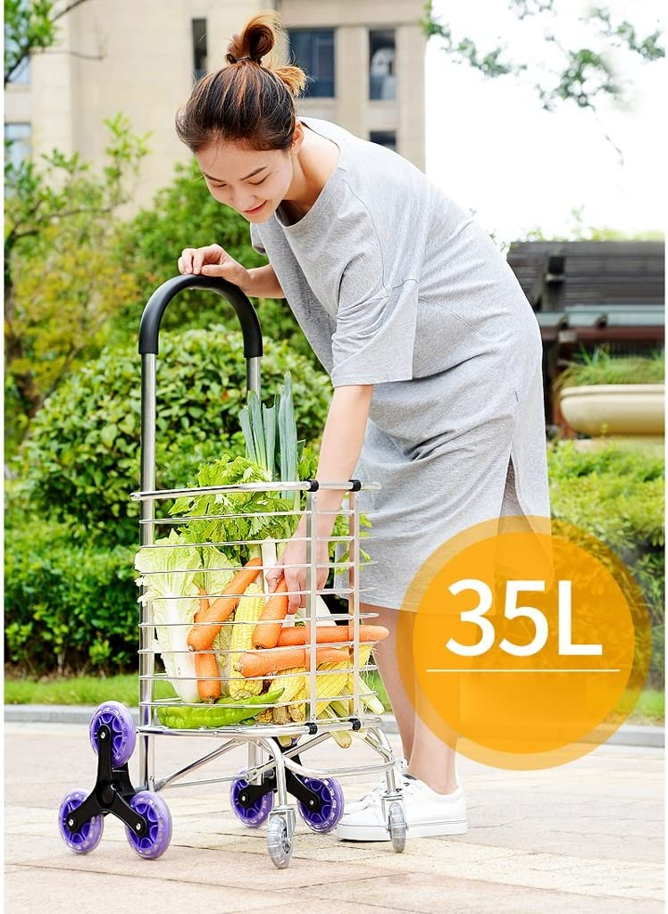 35L Capacity,1pcs Size : Thick Light Shopping Trolley L30 W38 H95cm Home Shopping Cart 6-wheel Collapsible Shopping Cart Portable Push-pull Cart