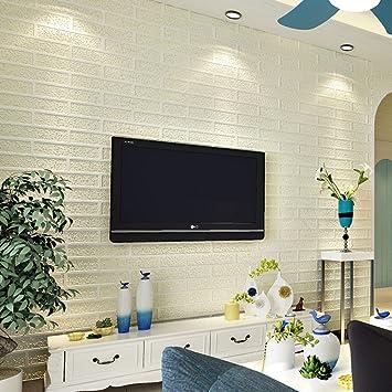 Weiße pvc tapeten ziegelstein, Wasserdicht schlafzimmer wohnzimmer ...